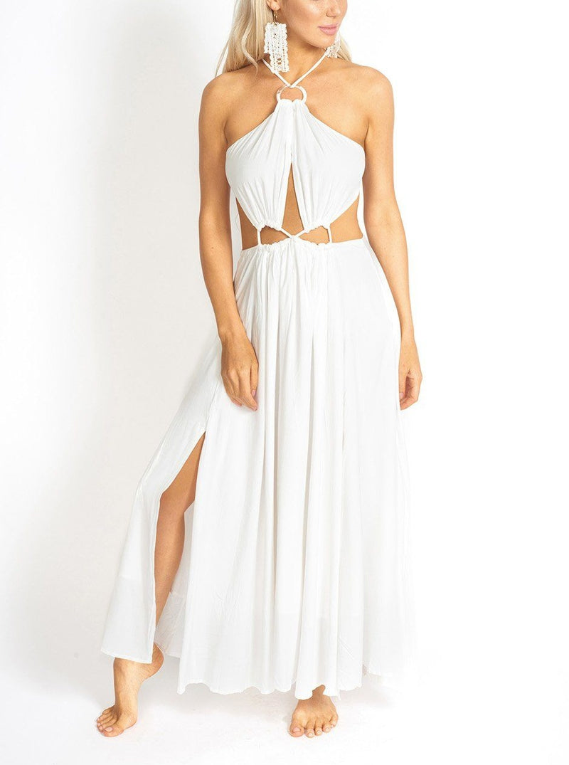 Santorini Rope-Tied White Maxi Dress Clothing m-usefashion