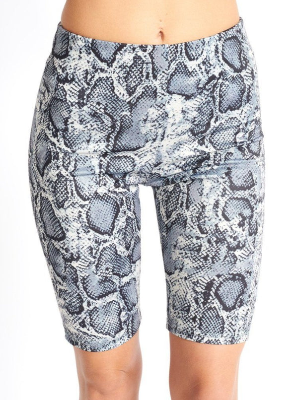 Snake Print Biker Shorts Clothing m-usefashion