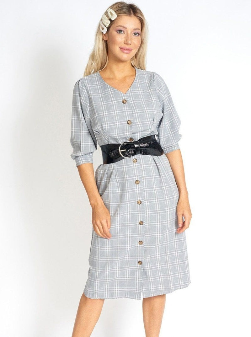 Too Cute for Office Modest Plaid Dress Clothing m-usefashion