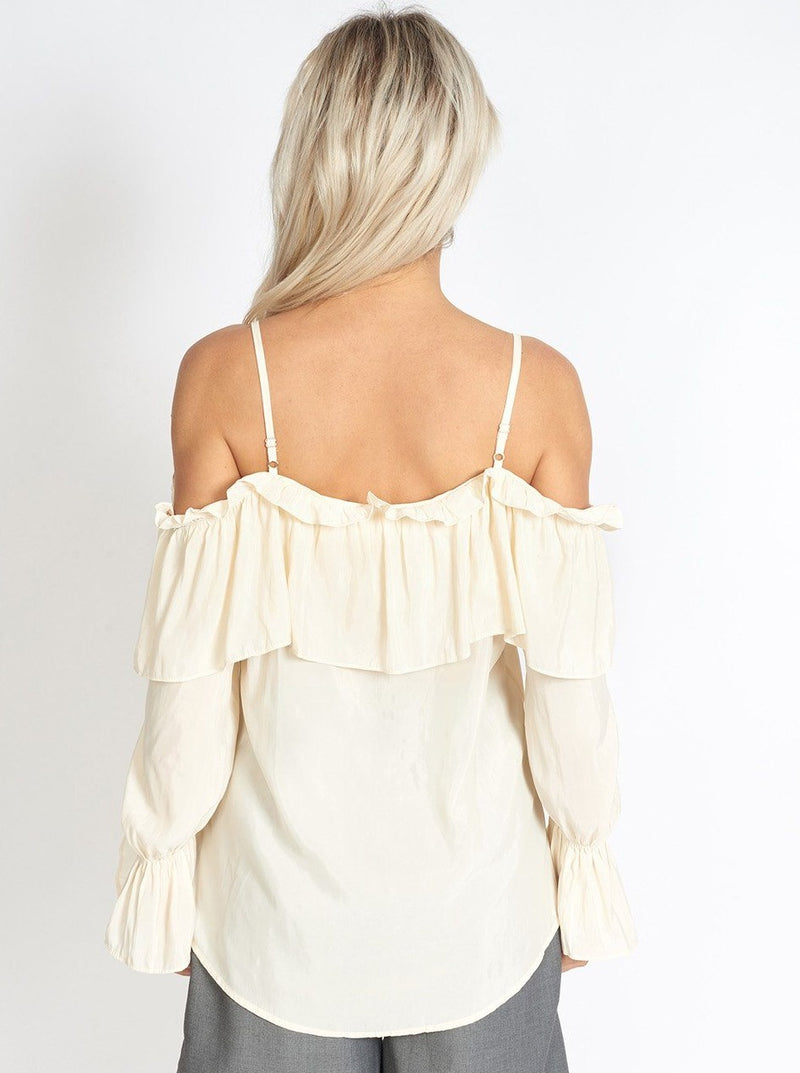 Venice Frill Off Shoulder Strap Chiffon Blouse Clothing m-usefashion