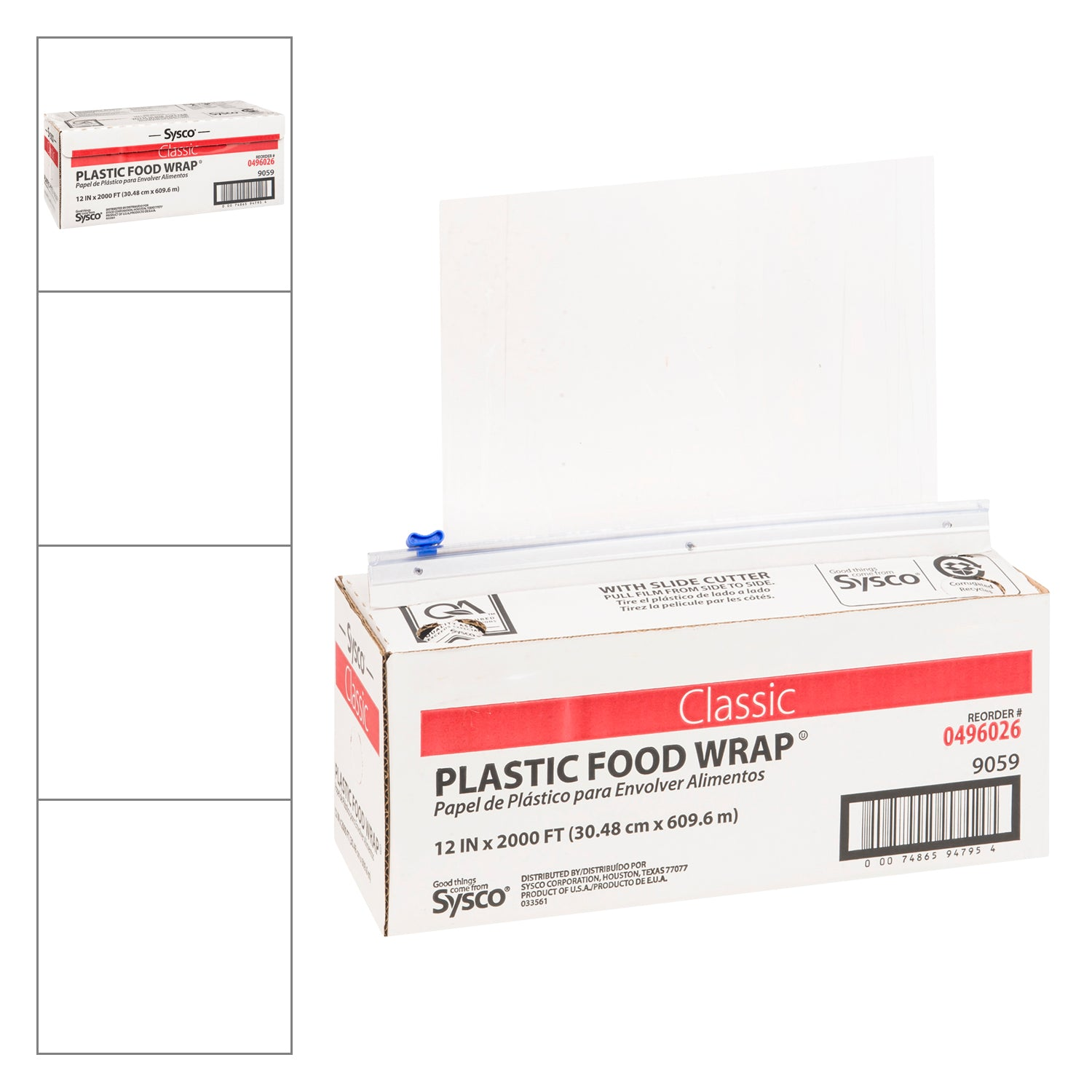 "Sysco Classic All-Purpose Plastic Wrap with Slide Cutter - 12""x2000 ft - 1 Pack [$0.02/foot]"