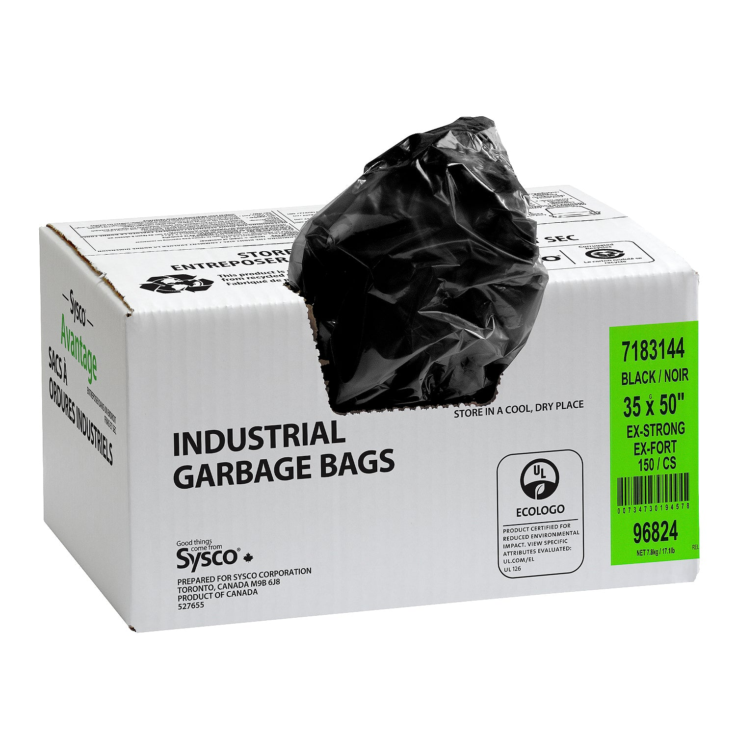 "Sysco Reliance Black Garbage Bags 35""x50"" Extra Strong Quality - 150 Pack [$0.30/bag]"