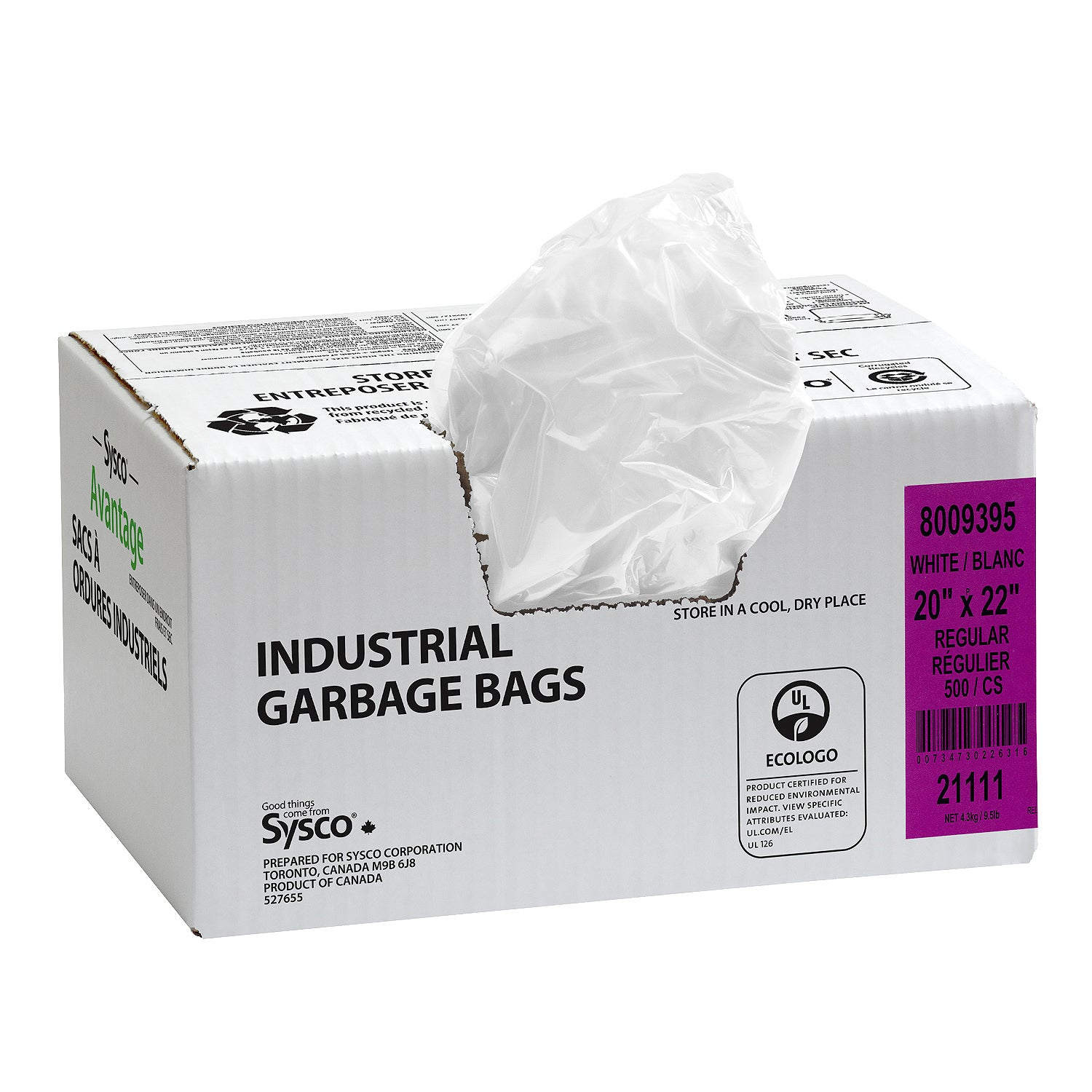 "Sysco Reliance White Garbage Bags 20""X22"" Regular Strength - 500 Pack [$0.07/bag]"
