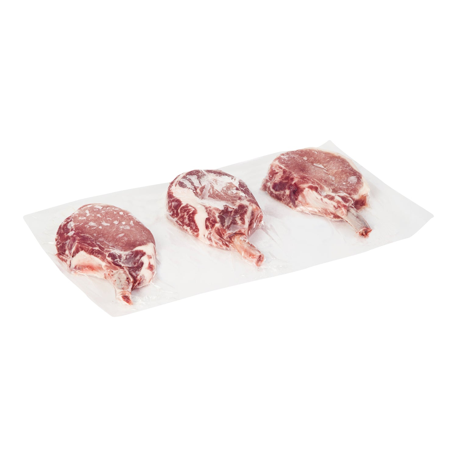 Sysco Butcher Block Frozen Frenched Bone-in Pork Chops 10 oz - 16 Pack [$6.00/each]