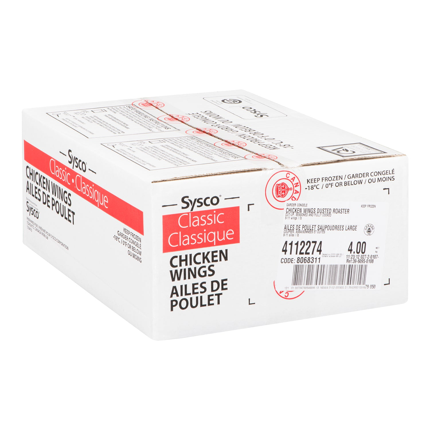 Sysco Classic Frozen Fully Cooked Breaded Chicken Wings (approx 70-100 pieces) 2 kg - 2 Pack [$16.00/kg]