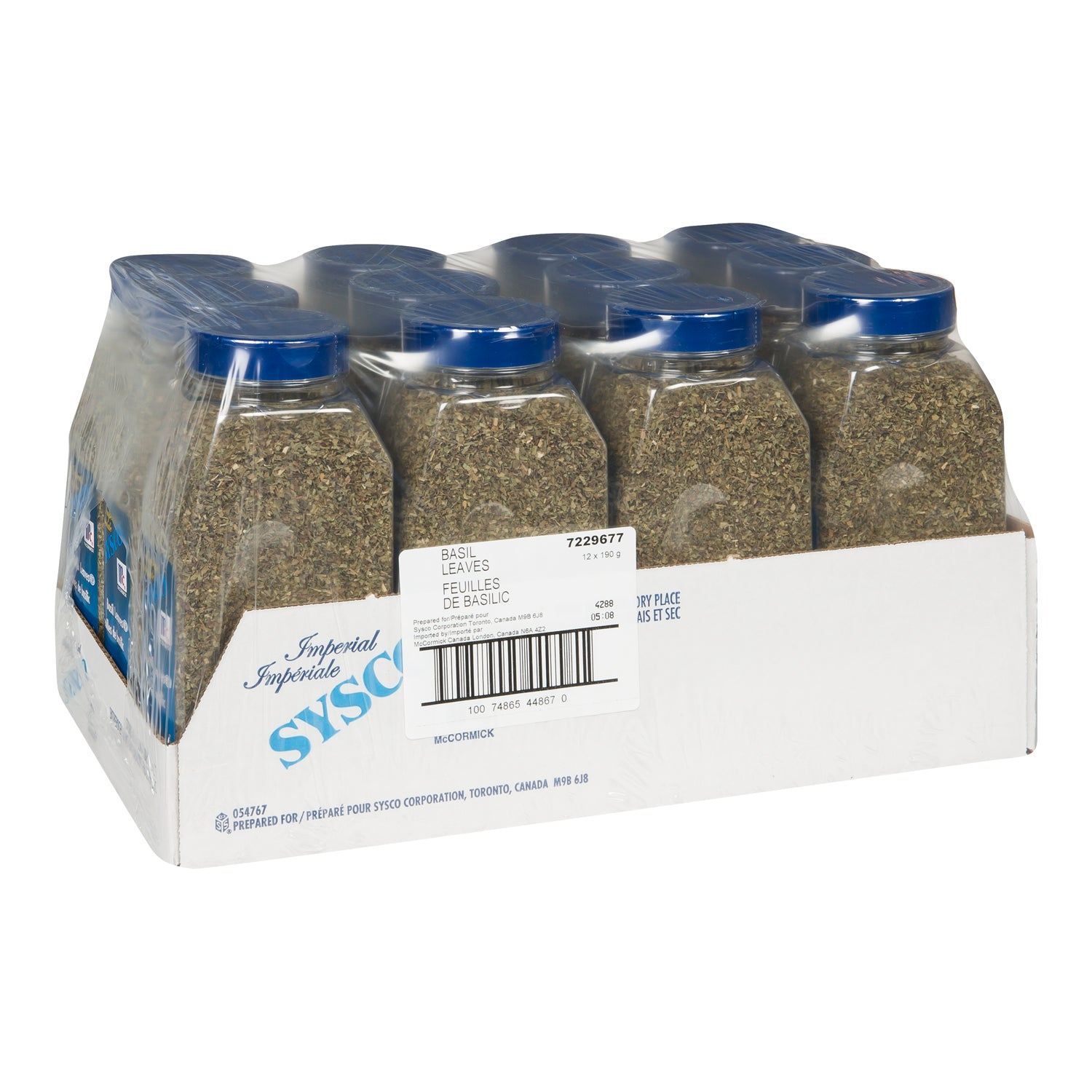 Sysco Imperial Dried Basil Leaves Ground 190 g - 1 Pack [$8.99/each]