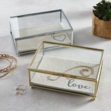 Menagerie Trinket Box - Gold - Rectangle - Love