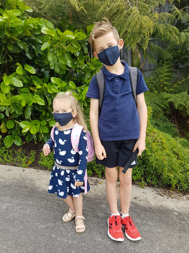 Face Mask Kids Navy & Red 2 pack