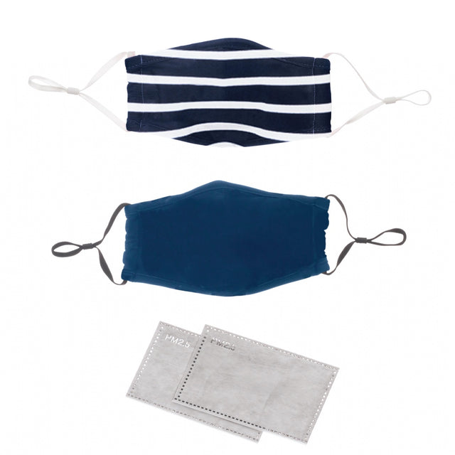Face Mask Denim Blue & Nautical Stripe 2 pack