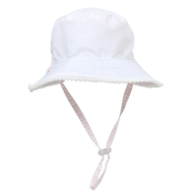 White / Pink Stripe Reversible Bucket Hat