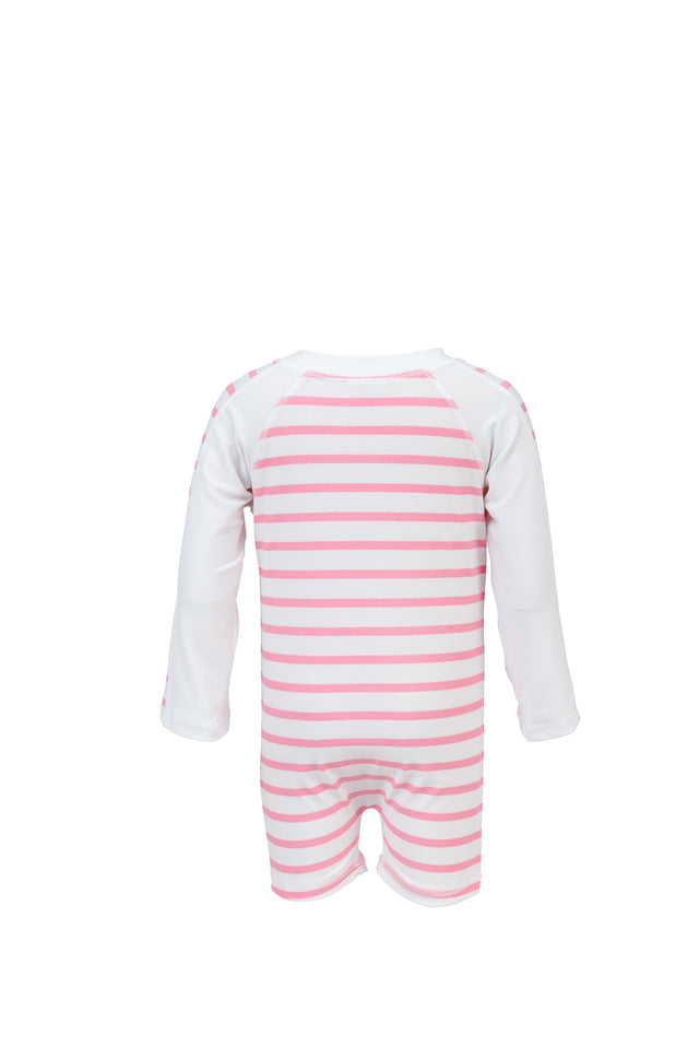Pink White Stripe LS Sunsuit