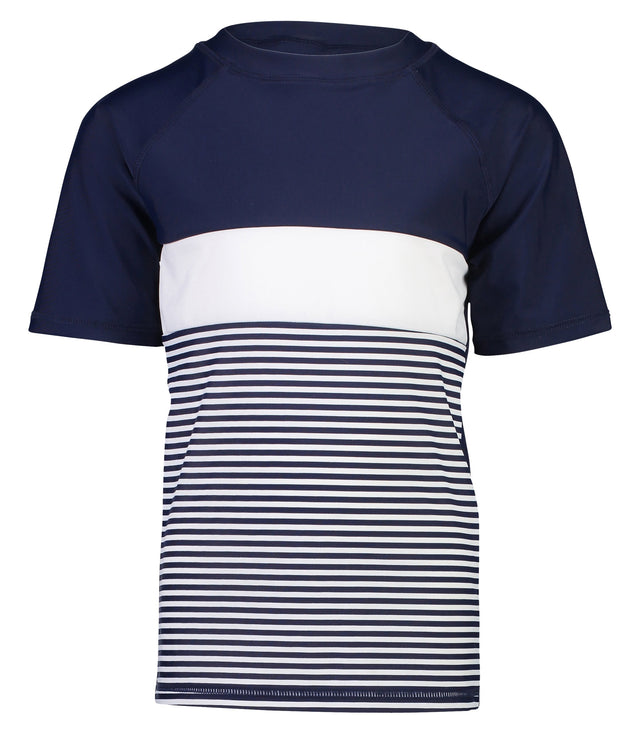 Navy White Stripe Block SS Rash Top