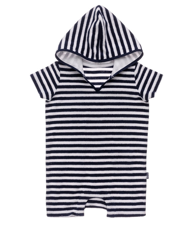 Navy & White Stripe Towelling Onesie
