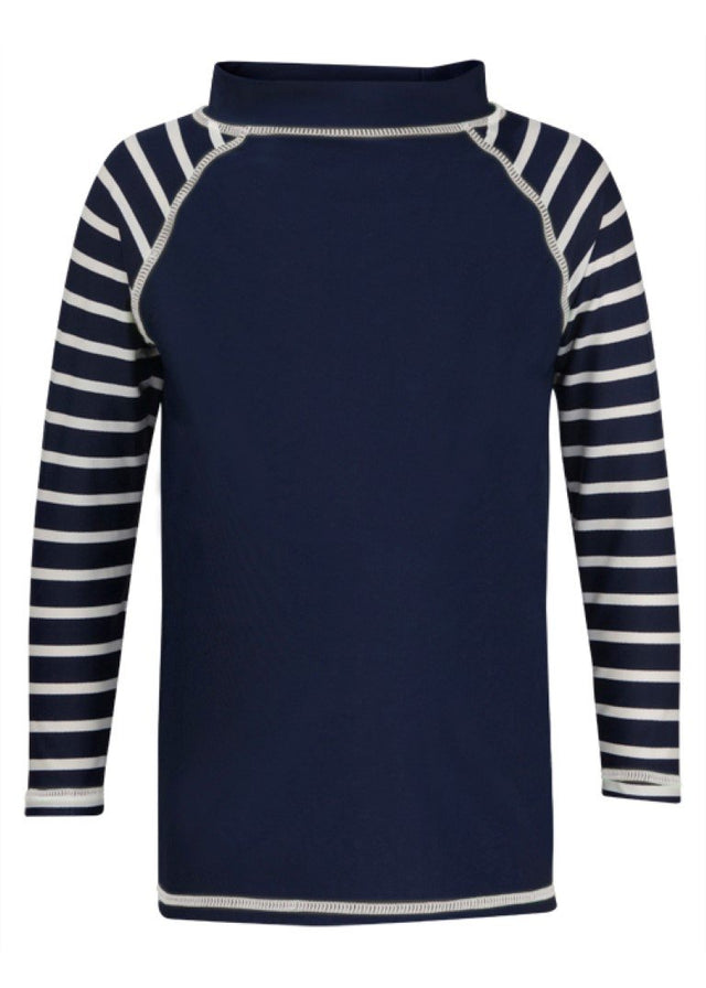 Navy Stripe Sleeve Long Sleeve Rash Top