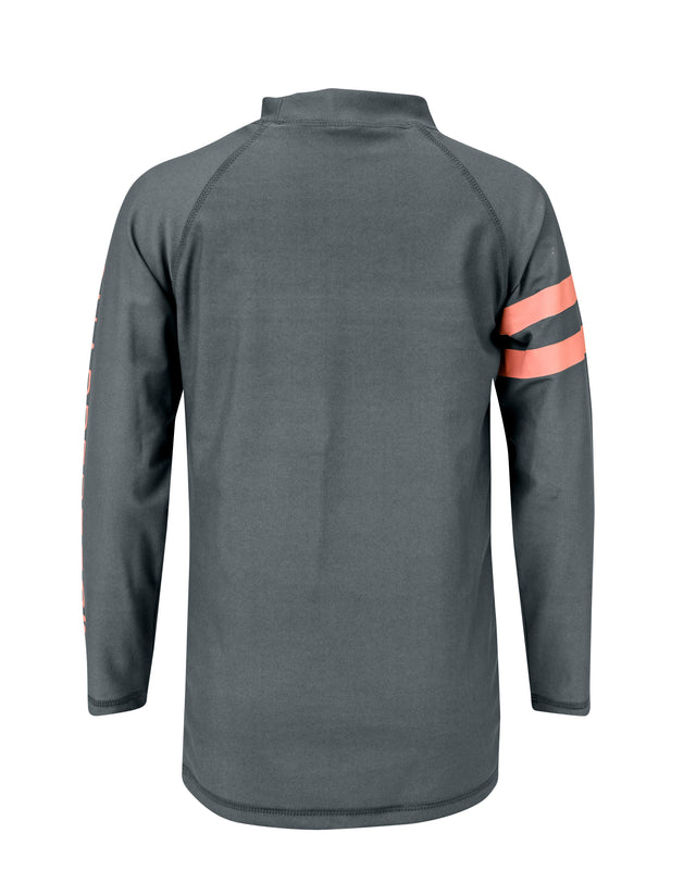 Steel Grey/Coral Arm Band LS Rash Top