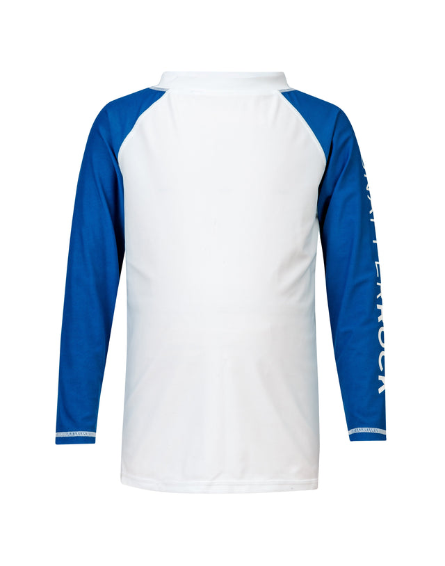 White Blue Arm LS Rash Top