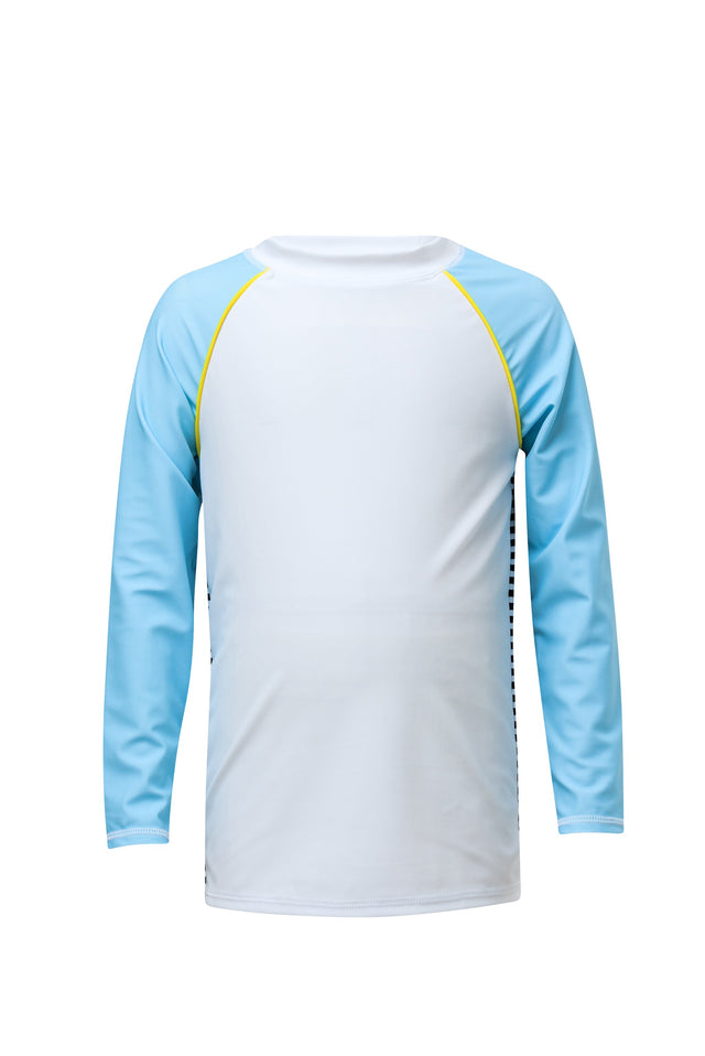 White/Blue Back Stripe LS Rash Top