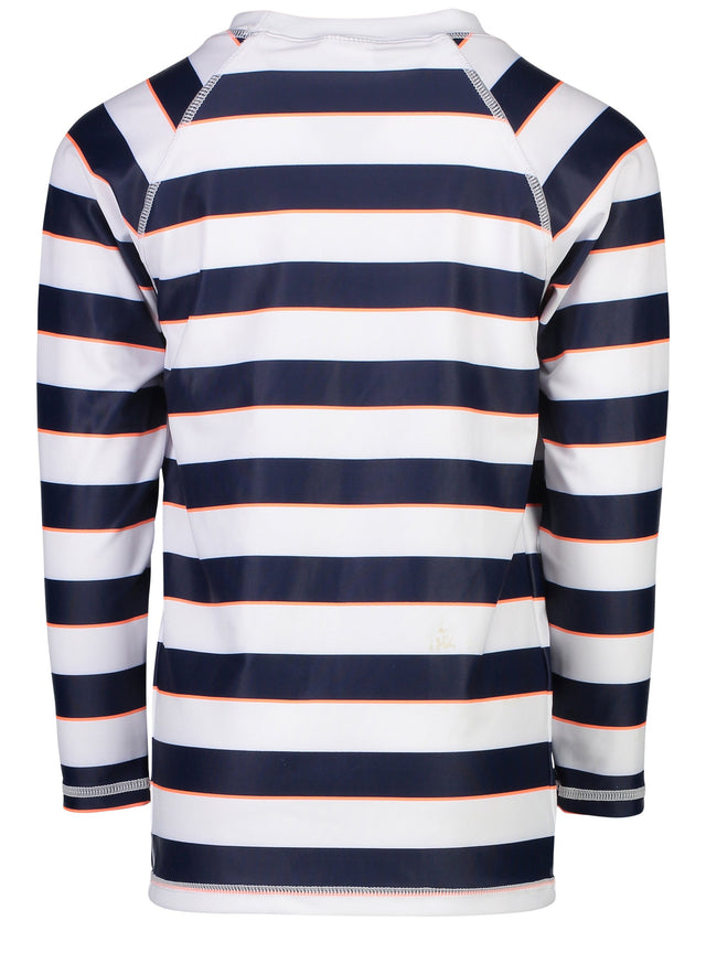 Navy White Rugby Stripe LS Rash Top