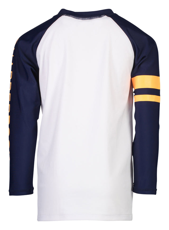 White Navy LS Orange Arm Band Rash Top