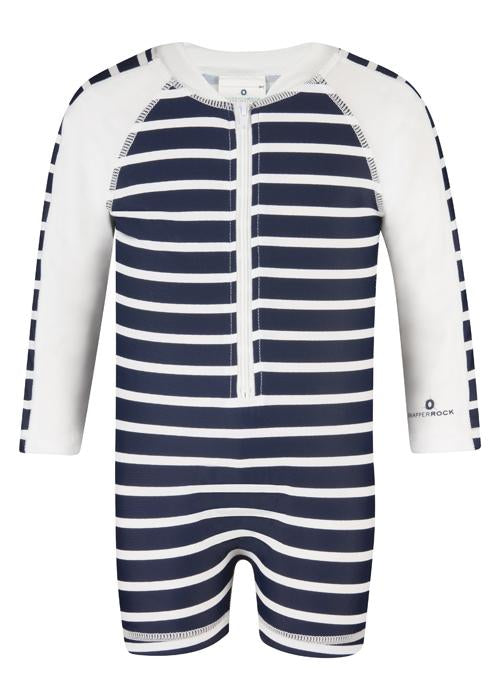 Navy & White French Stripe Long Sleeve Sunsuit