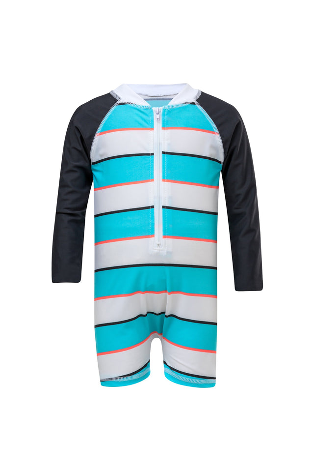 Aqua/Slate Stripe LS Sunsuit