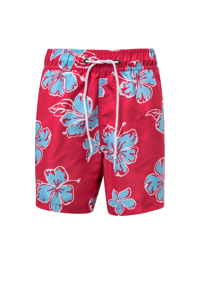 Red/Aqua Hibiscus Boardies