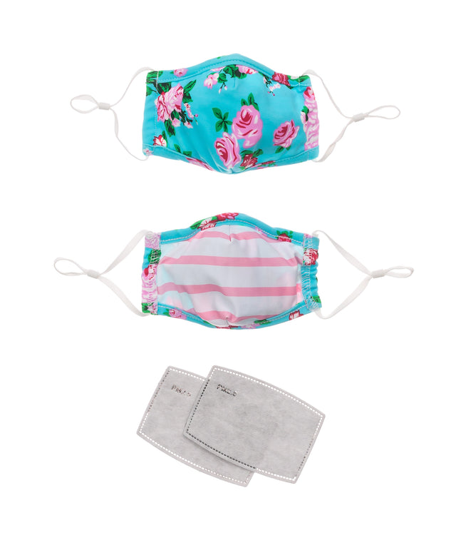 Face Mask Kids Floral & Candy Stripe 2 pack