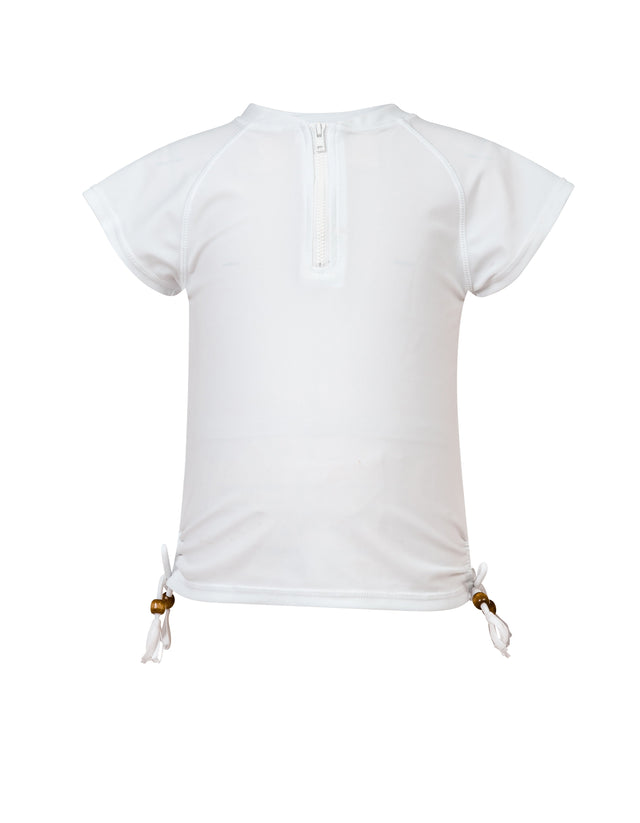 White 1/2 Zip SS Rash Top