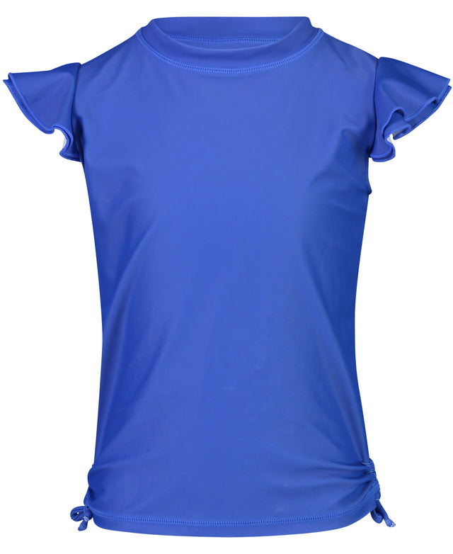 Blue Flutter Sleeve Rash Top