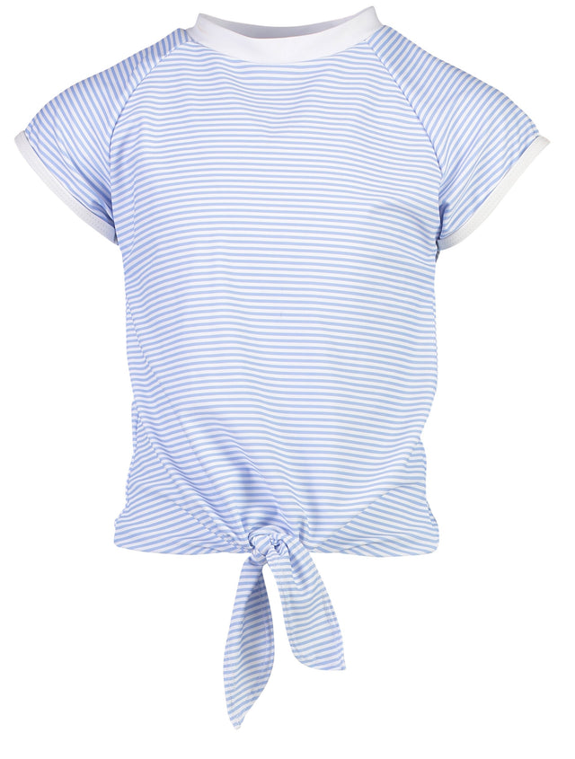 Blue & White Stripe Knot Front SS Rash Top
