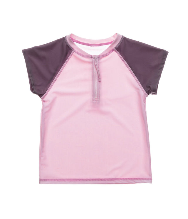 Pink Grey Sleeve 1/2 Zip SS Rash Top
