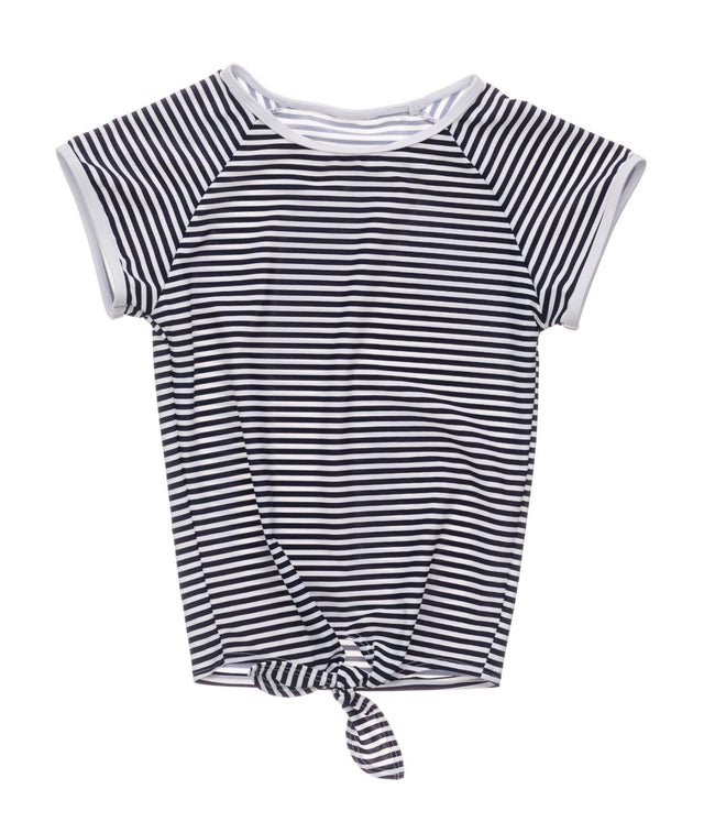 Nautical Stripe Knot Front SS Rash Top