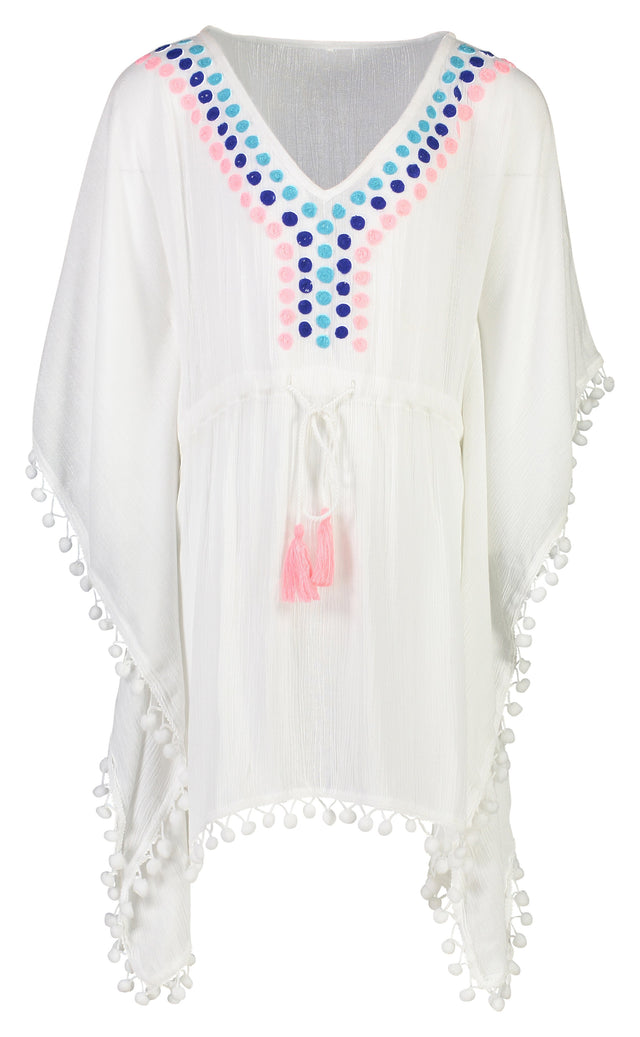 White Embroidered Spot Kaftan