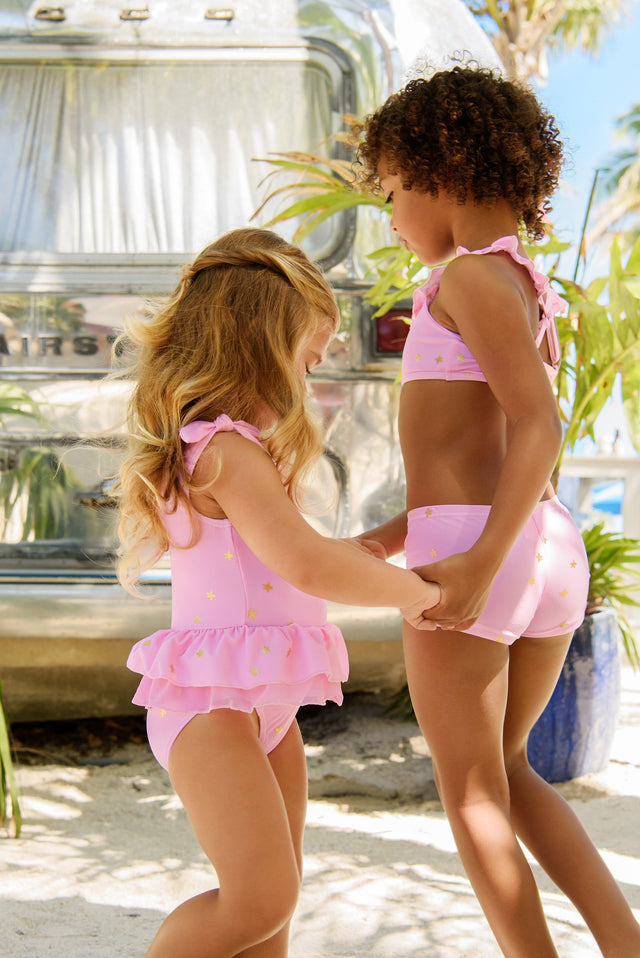Pink Gold Star Frill Skirt Swimsuit