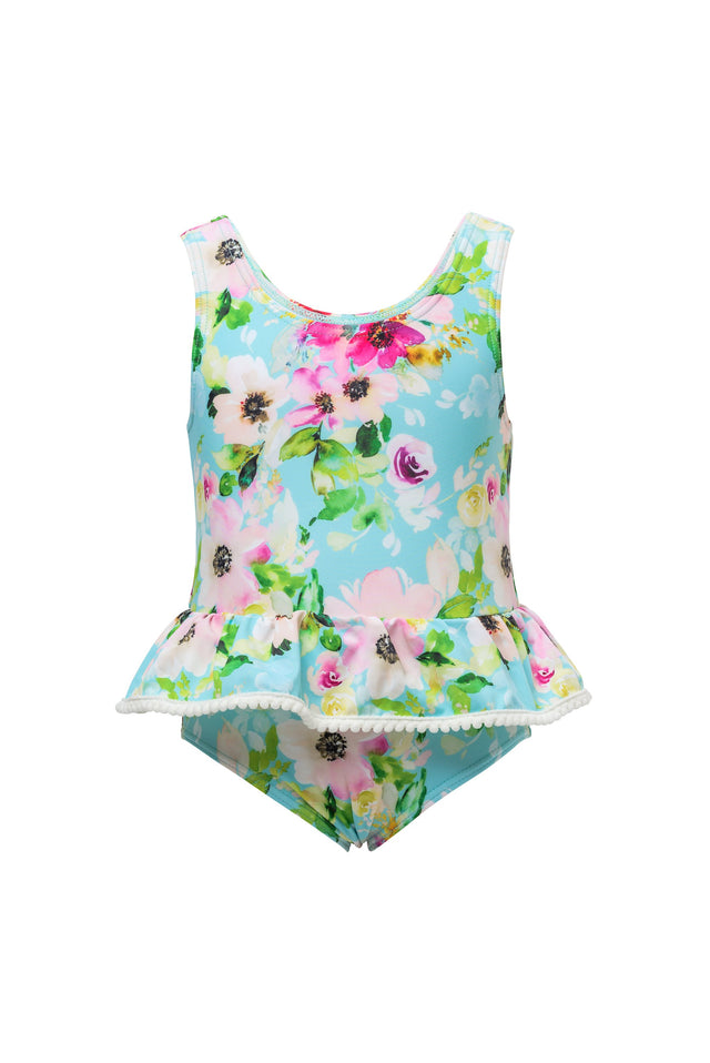 Watercolor Floral Skirt Swimsuit