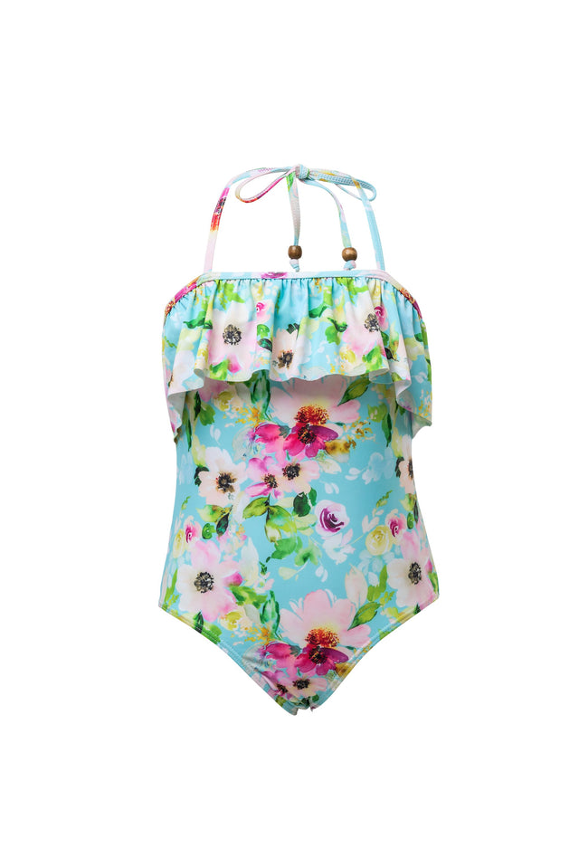 Watercolor Floral Frill Halter Swimsuit