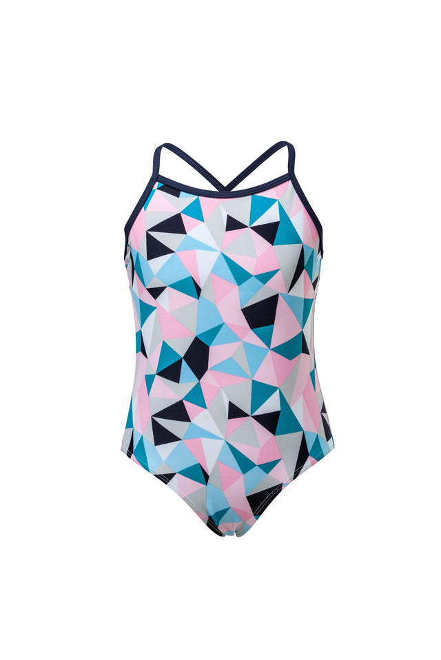 Pink Geo Classic Crossback Swimsuit