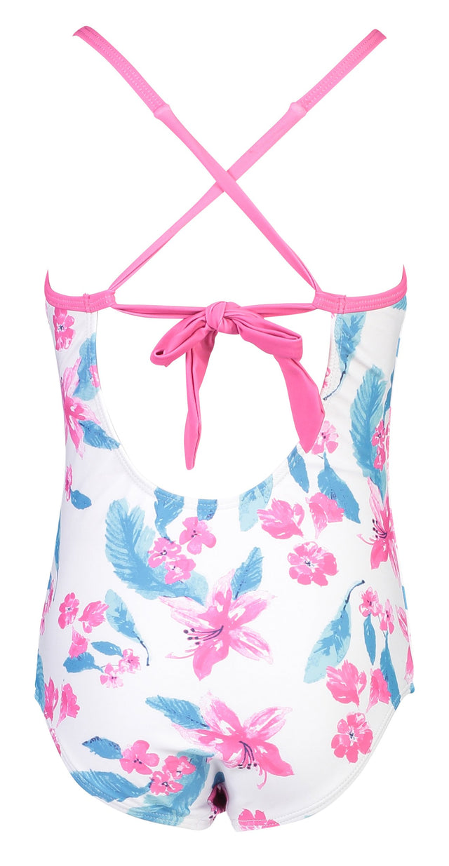 Fuschia Lily X Back Tie Swimsuit