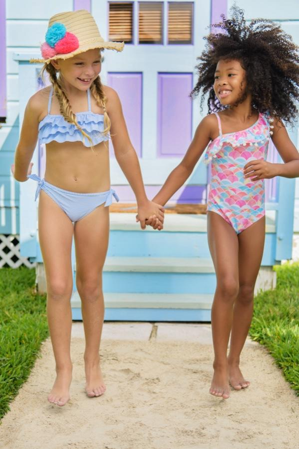 Rainbow Connection One Shoulder Frill Swimsuit