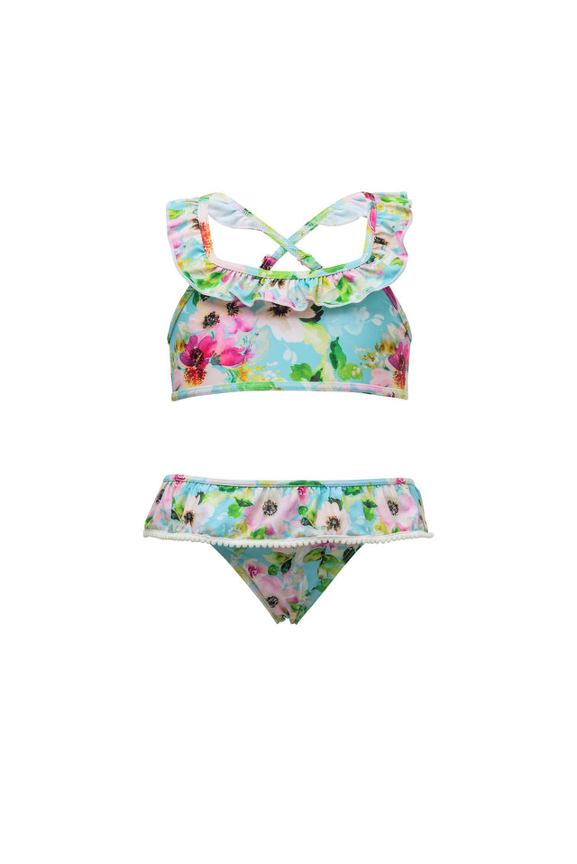 Watercolor Sports Ruffle Bikini