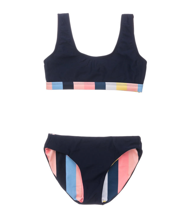 Opti Stripe Scoop Crop Bikini