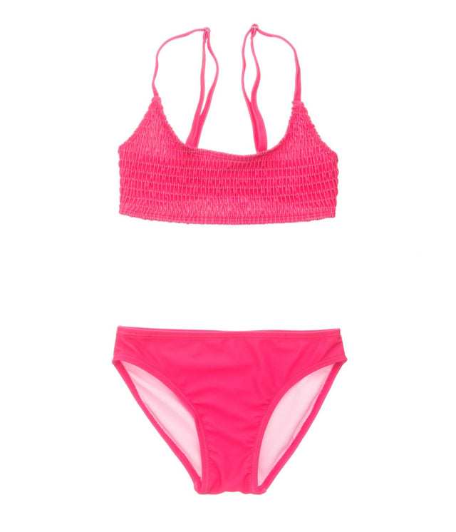 Lipstick Shirred Crop Bikini