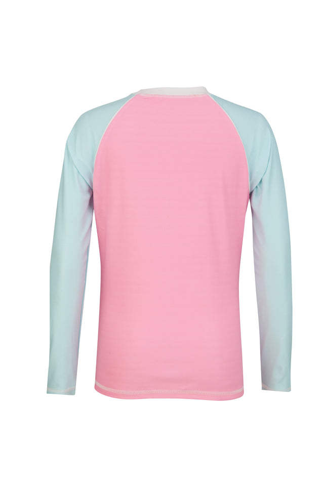 Pink/Aqua Colorblock Long Sleeve Rash Top