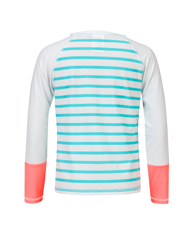 Neon Coral Aqua Stripe L/S Rash Top