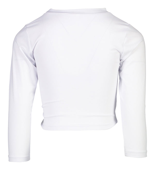 Sustainable White LS Wrap Crop Top