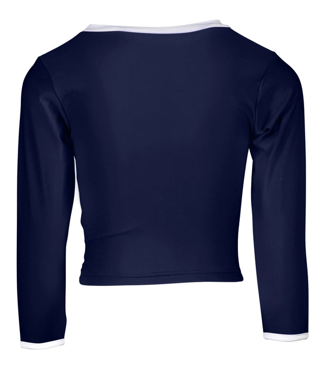 Navy LS Wrap Crop Top