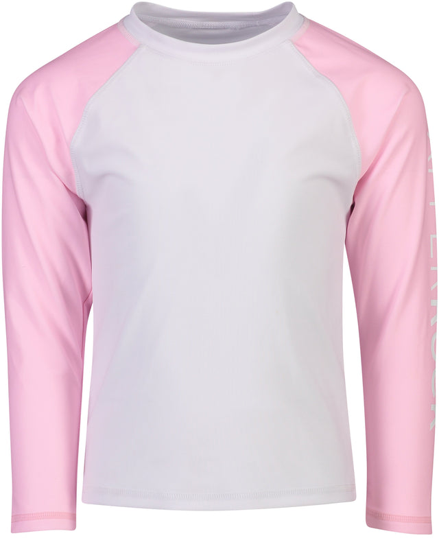 White Pink Arm SR LS Rash Top
