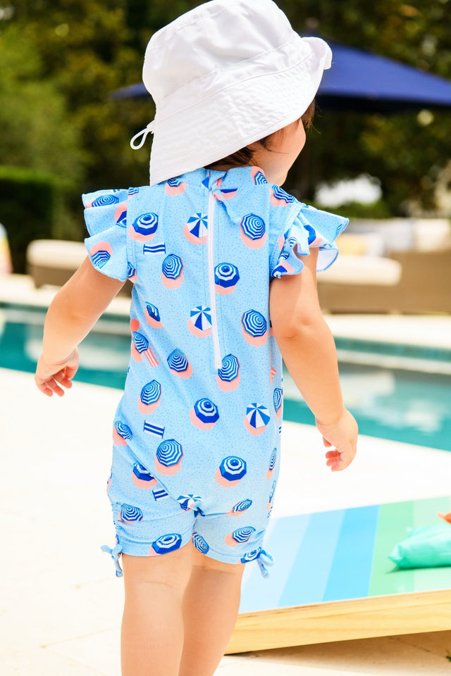 French Riviera Flutter Sleeve Sunsuit