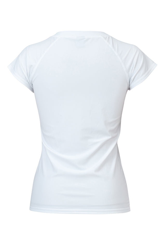 Womens White 1/2 Zip SS Rash Top