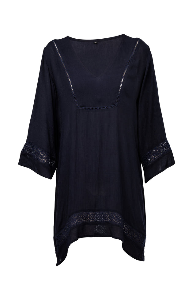 Ladies Navy Fluted Kaftan